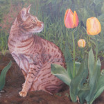Betel amongst the tulips, oil painting pet portrait Kate Rosten