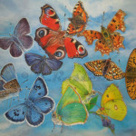 Butterfly colourwheel, watercolour painting by K Rosten.